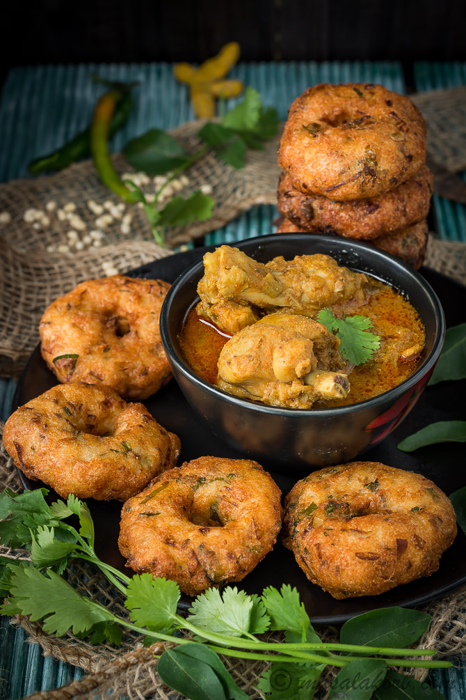 Garelu Chicken Curry, South Indian Medu Vada With Spicy Chicken Curry Andhra Style