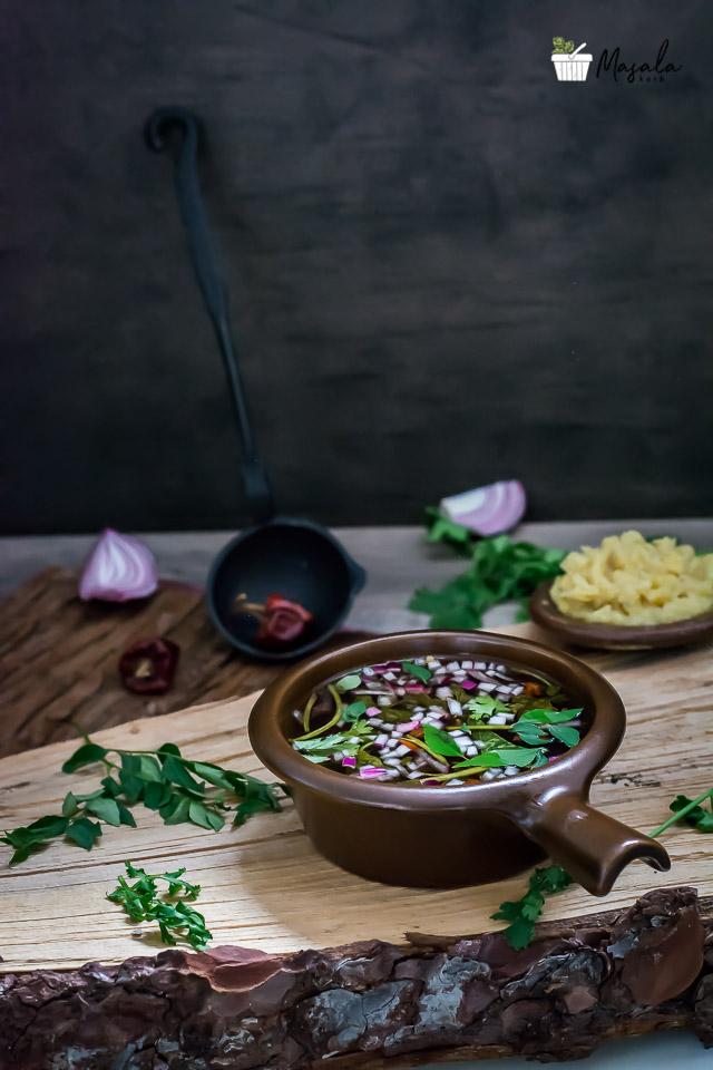 Pachi Pulusu Andhra Style, Raw Tamarind Rasam