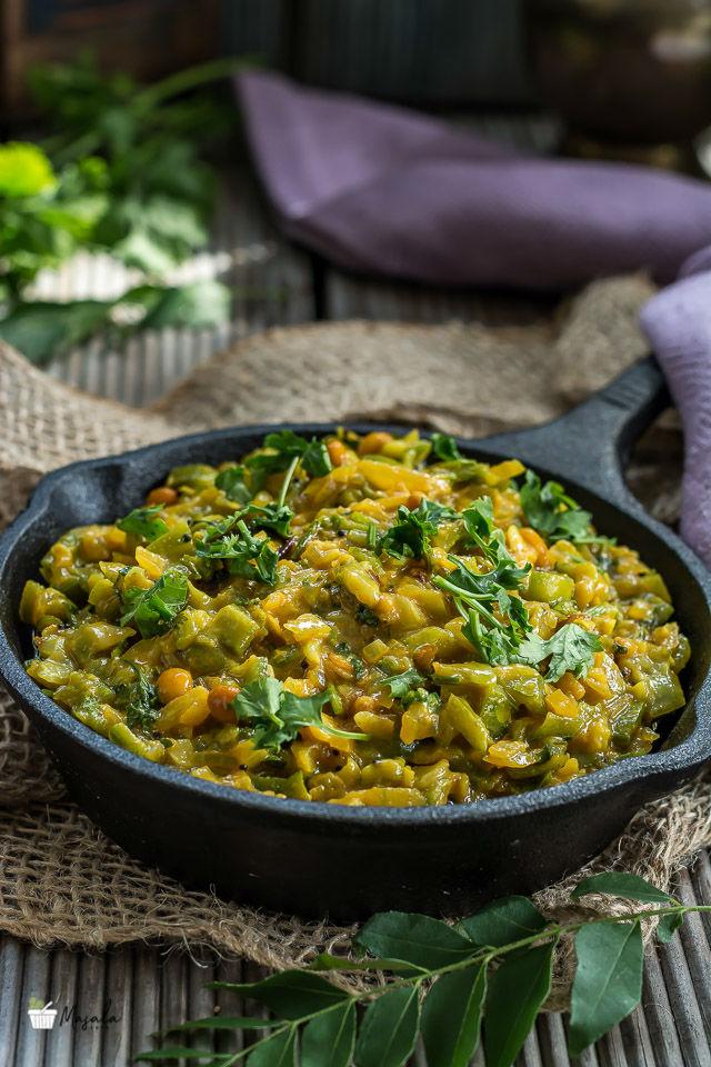 Beerakaya Palu Posina Kura, Ridge Gourd Curry Andhra Style