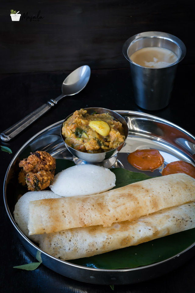 Idli, Dosa, Vada Curry, Ginger Chutney, Coffee - South Indian Tiffins for Breakfast