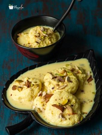 Soft Rasmalai Recipe, Rasmalai Sweet served in a black plate