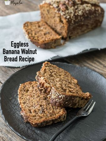 Eggless Banana Walnut Bread Recipe