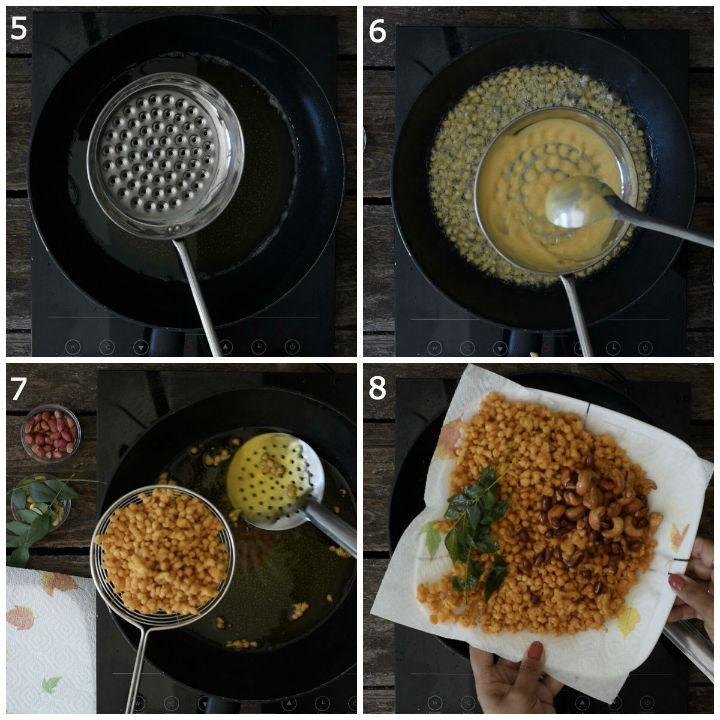 Kara Boondi Recipe deep frying