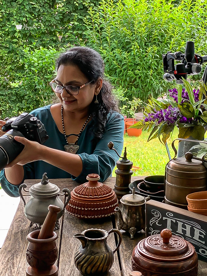 Padma Veeranki with her props and camera. About Padma Veeranki | Photographer & Recipe Developer