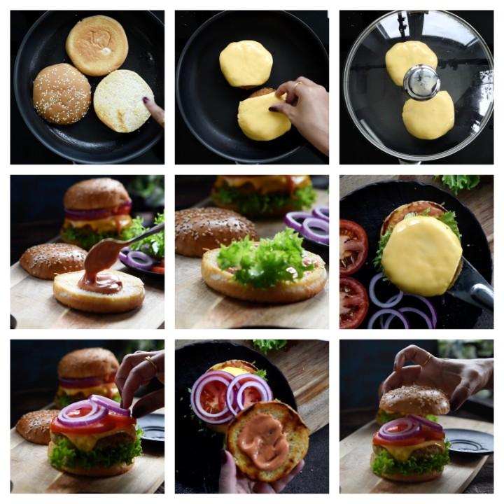 Aloo Tikki Burger Recipe assembling steps