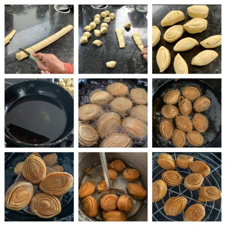 Madatha Kaja Recipe - Khaja Sweet Making Steps