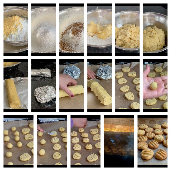Step by step instructions for jeera Biscuits