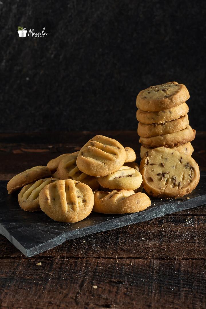 Jeera Biscuits Recipe Eggless - Jeera Cookies stacked