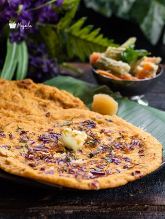 Kara Adai dosa served with jaggery & vegetable stew.