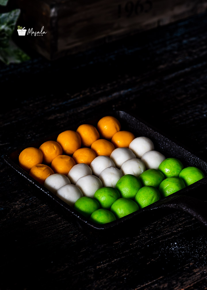Tricolour Food depicting 3 colours in the Indian flag.