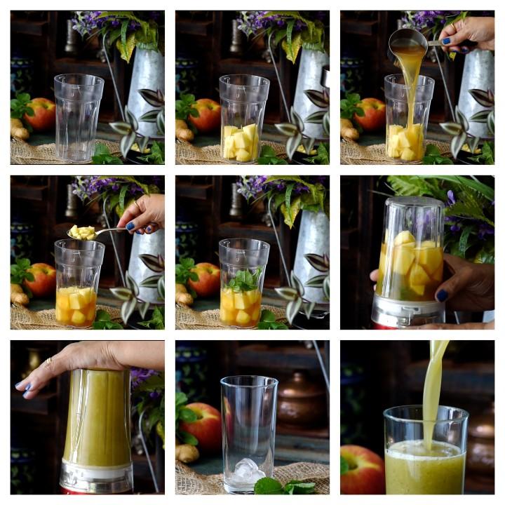 Apple Ginger Mint Juice, a refreshing summer fruit drink steps