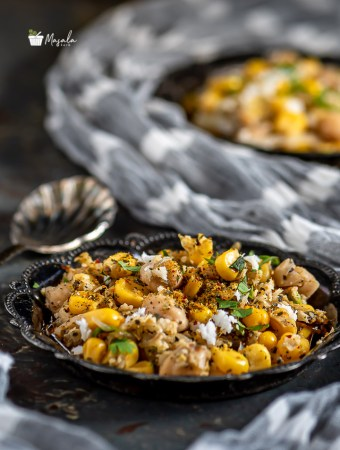 Corn Chickpea Salad - Sweet Corn & Chickpea Sundal served in a plate.