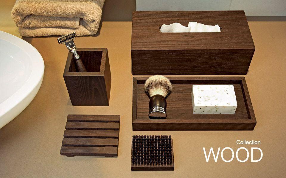 les accessoires de salle de bain wood