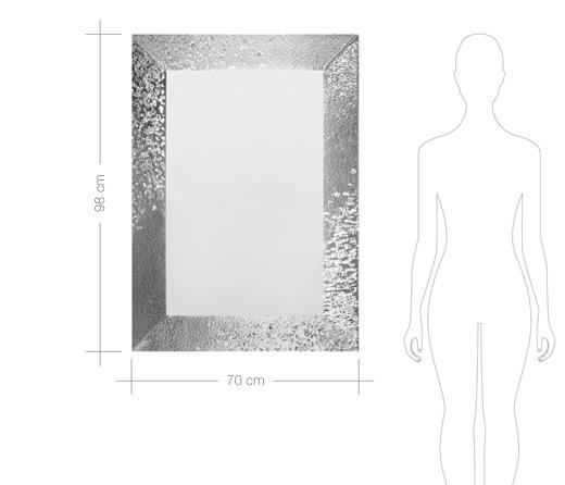 Miroir Salle De Bain 98X70 Cm Cadre Verre Argent Cline