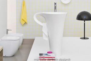 Vasque Colonne Design Cup Par Artceram En Forme De Tasse A Cafe Blanche