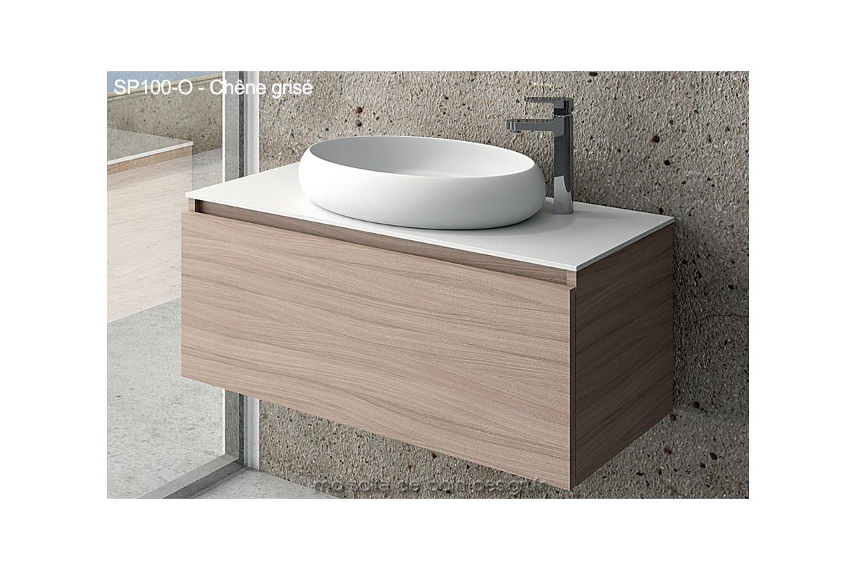 Grand Meuble A Tiroir Design 100cm Avec Vasque Ovale En Solid Surface Couleur Laquee Ou Finition Bois