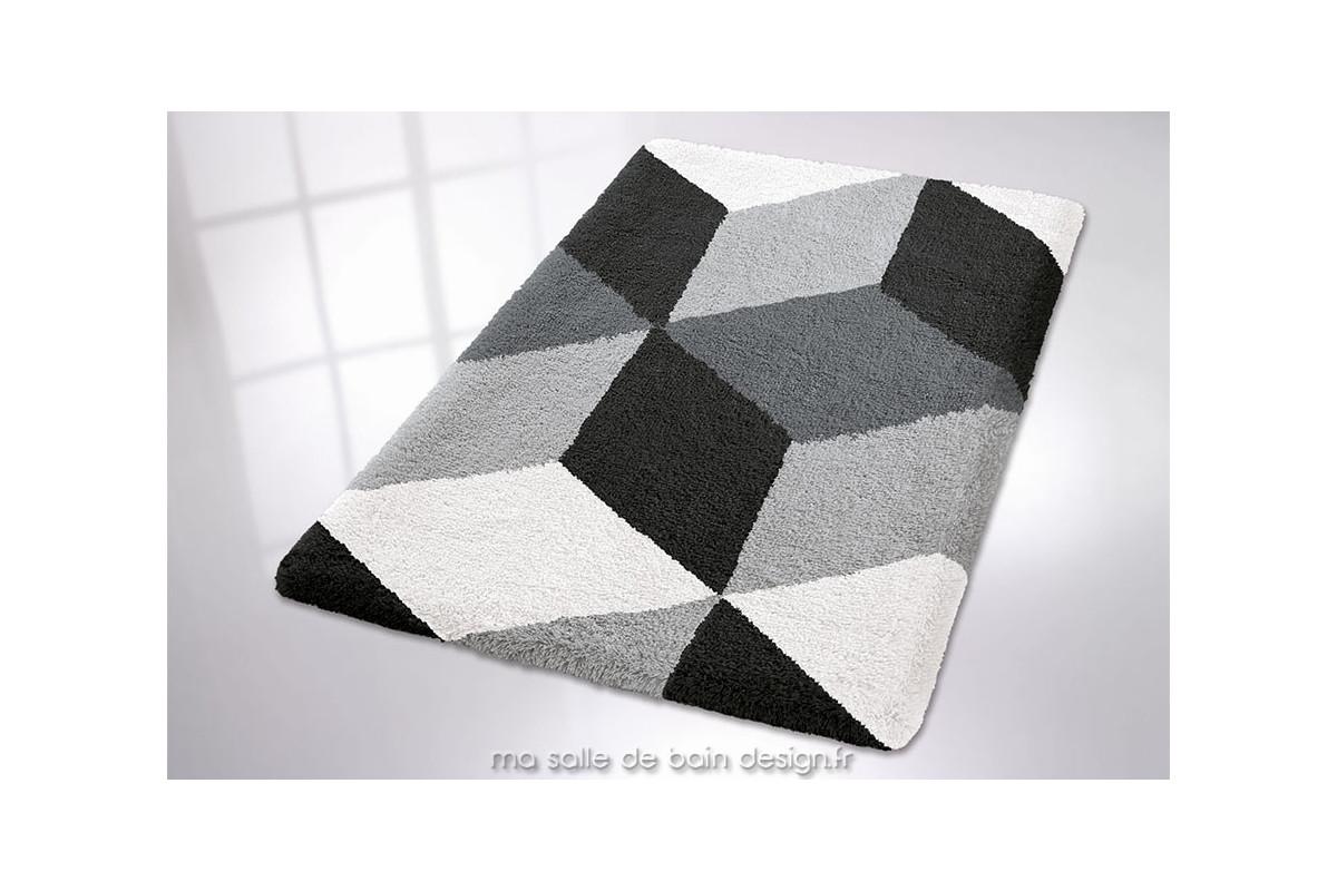 Tapis De Bains Motifs Gomtriques Coloris Noir Blanc