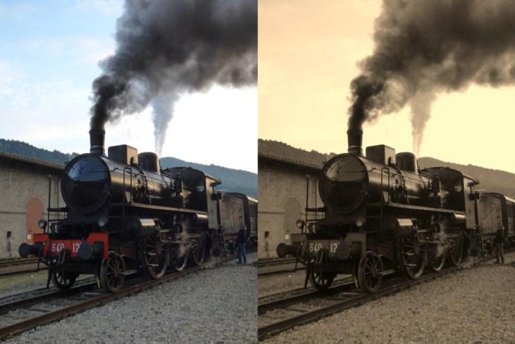 Treno a vapore. Foto a colori e virata seppia