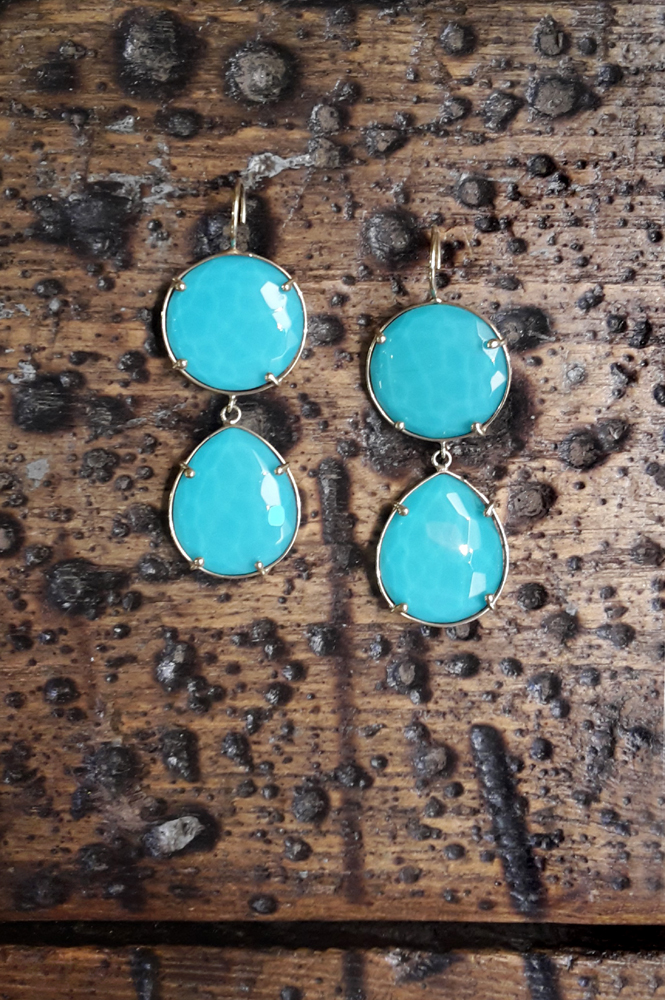 Earrings made of gold with turquoise _ maschio gioielli milano