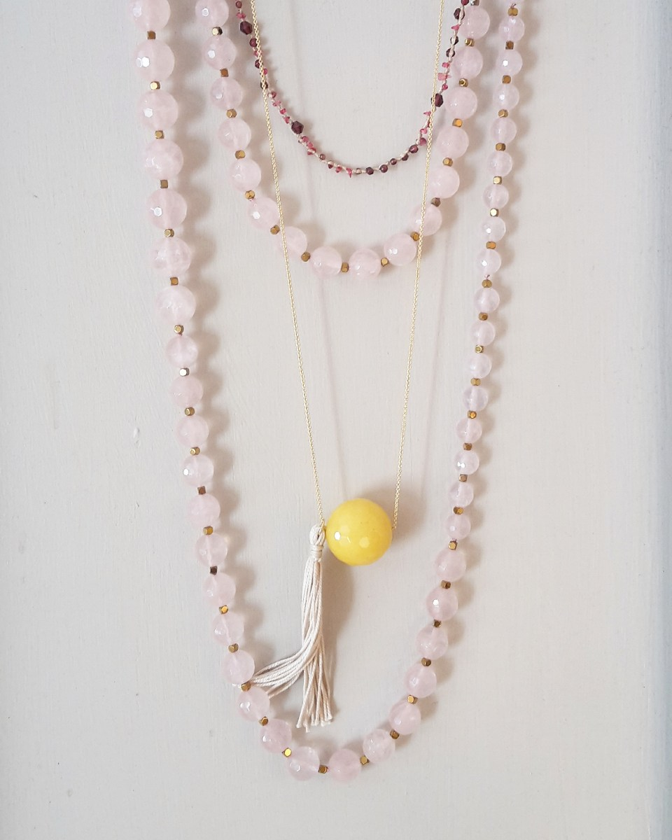 Long necklace with pink agate faceted stones and big baroque pearl + gold thin chain necklace with yellow agate _ maschio gioielli milano