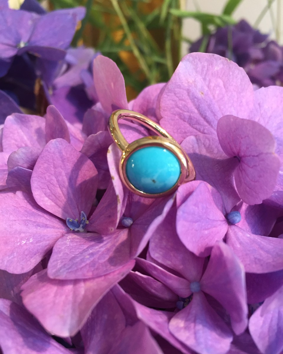 Minimal gold ring with turquoise cabochon _ maschio gioielli milano