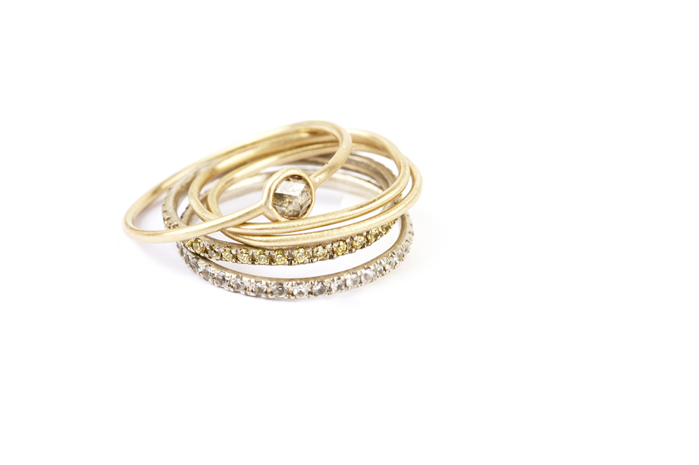 Mix of gold and diamonds rings _ maschio gioielli milano