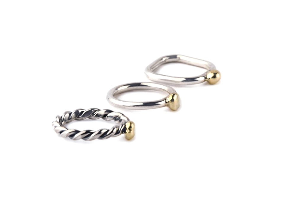 Silver and gold stacking rings _ maschio gioielli milano