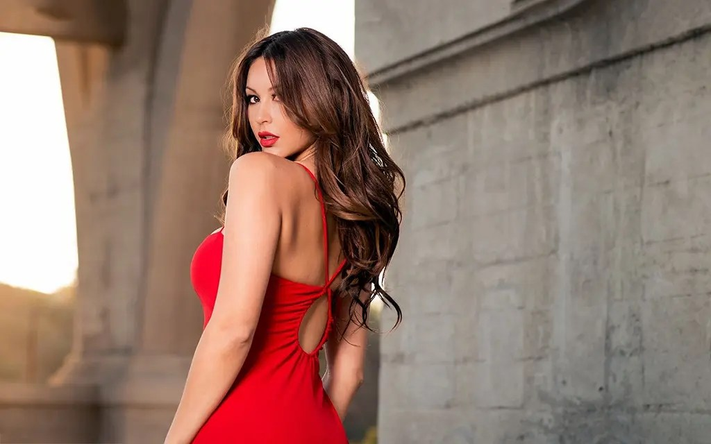 very hot girl in red dress