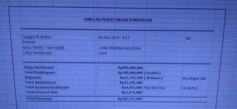 Estimasi nilai perhitungan pencairan pinjaman kredit dengan jaminan BBPKB Mobil Bus Hino R260 Tahun 2014. Di hitung struktur pembiayaan kreditnya pada bulan Desember 2019 di proses melalui BFI Finance Desember 2019