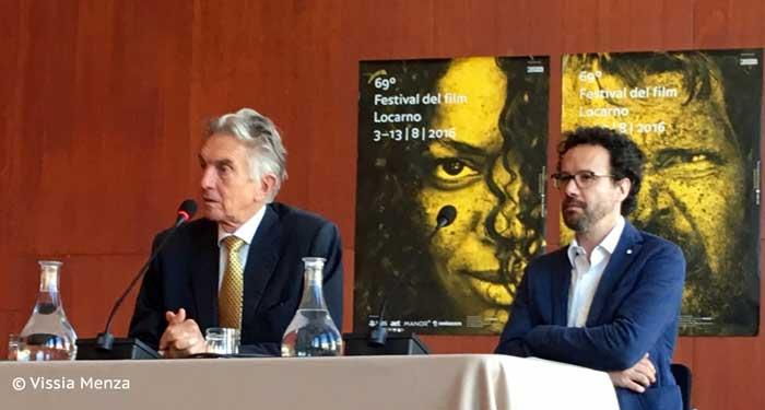 Marco Solari e Carlo Chatrian alla conferenza stampa milanese di Locarno 2016 © Vissia Menza