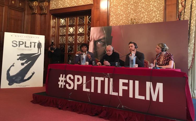 M. Night Shyamalan, James McAvoy e Anya Taylor-Joy alla conferenza stampa milanese del film SPLIT - Foto di Luca Zanovello