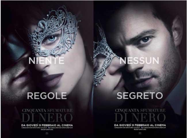 il poster italiano del film CINQUANTA SFUMATURE DI NERO