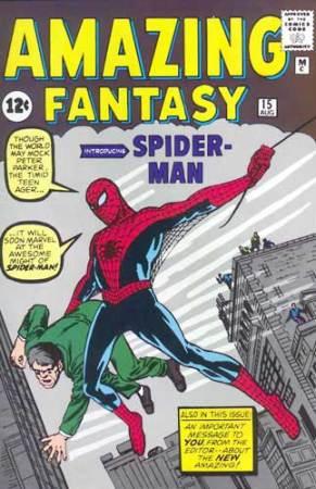 La copertina di Amazing Fantasy in cui debutta l'Uomo Ragno - Disegni di Steve Ditko e Paul Lee