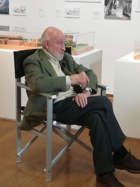 Vittorio Gregotti all'inaugurazione della mostra Il territorio dell'architettura © Federica Musto