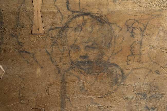 """Tiziano Vercellio - Un dettagli sul retro della Sacra Conversazione (Pala Gozzi), 1520 - Ancona, Pinacoteca Civica """"Francesco Podesti"""""""