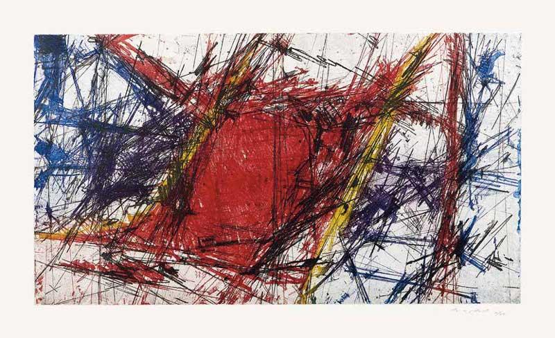 Sandro Martini, Ladro di sogni, 1997, stampa calcografica alla poupée a tre colori + nero - Foto di Matteo Zarbo, Collezione m.a.x. museo, Chiasso