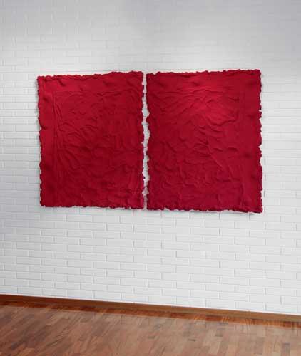 Pino Pinelli, Pittura R., 1993. tecnica mista, 2 elementi, 120 x 190 cm / Courtesy of Palazzo Reale