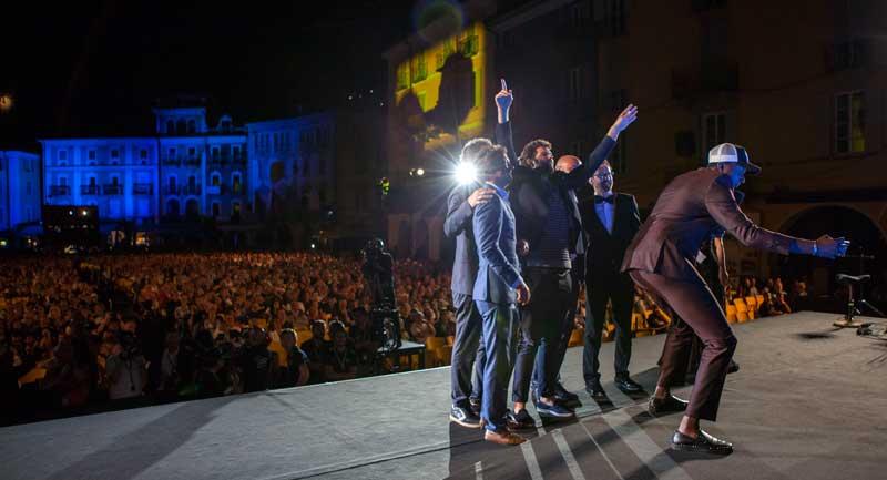 Locarno Festival 2018 L'inaugurazione in Piazza Grande con la delegazione del film Les beaux esprits - Photo: Locarno Festival/ Marco Abram