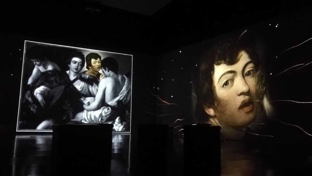 alcune immagini della mostra immersiva Caravaggio Oltre la tela