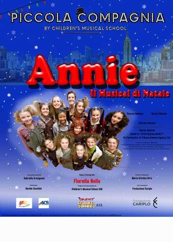 la locandina di Annie il musical in scena al Teatro Nuovo di Milano il 7 e 8 dicembre 2018