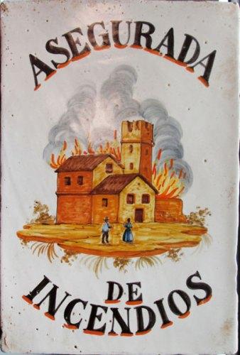 mostra OND'EVITAR TEGOLE IN TESTA: Targa-incendio spagnola in ceramica, sec. XIX