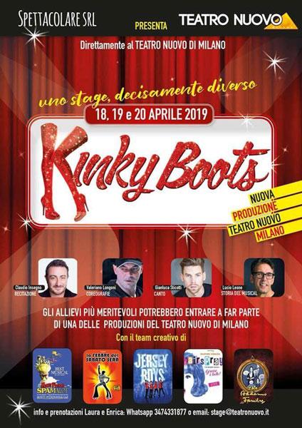 La locandina dello stage di Kinky Boots al Teatro Nuovo