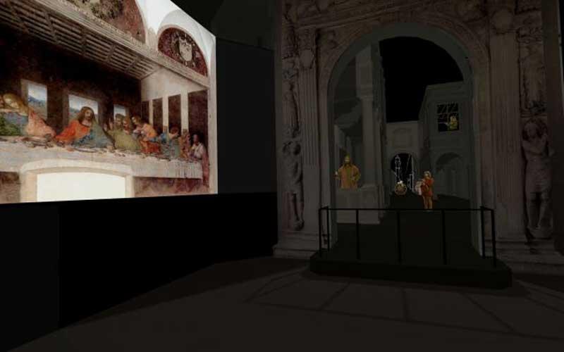 """Rendering proiezione multimediale Progetto di Culturanuova s.r.l. - Massimo Chimenti MOSTRA """"Leonardo a Milano"""""""