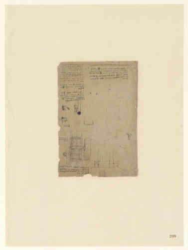 Leonardo da Vinci (1452-1519), Codice Atlantico (Codex Atlanticus), foglio 209 recto. Appunti per la costruzione del Palazzo Reale di Romorantin con relativa planimetria di edificio. Copyright Veneranda Biblioteca Ambrosiana / Mondadori Portfolio