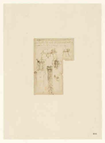 Leonardo da Vinci (1452-1519), Codice Atlantico (Codex Atlanticus), foglio 806 recto. Quattro planimetrie del castello di Romorantin, in Francia. Copyright Veneranda Biblioteca Ambrosiana / Mondadori Portfolio