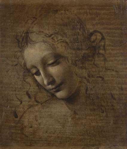 """Leonardo da Vinci (1452-1519), Testa di donna detta """"La Scapiliata"""", 1492-1501 ca. Terra d'ombra, ambra inverdita e biacca su tavola, cm 24,7 x 21. Parma, Complesso monumentale della Pilotta, Galleria Nazionale, collezione Callani"""