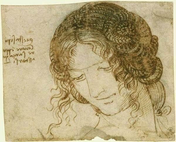 Leonardo da Vinci (1452-1519), Studio per l'acconciatura di una donna, 1504-1506 ca. Matita nera, penna e inchiostro su carta, mm 92 x 112 Windsor Castle, Royal Library, inv. RCIN 12515