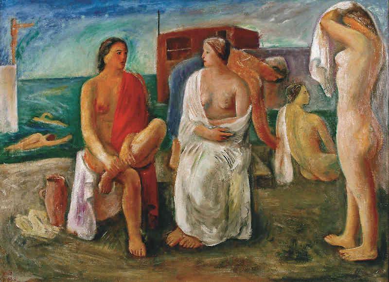 Guido Pajetta, Bagnanti. 1933, olio su tela, 97 x 130 cm