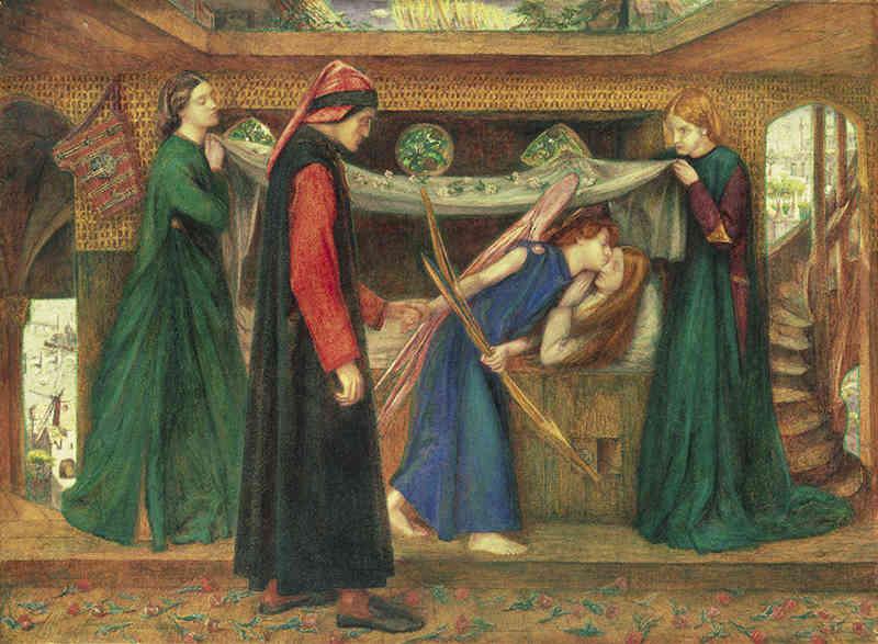 Dante Gabriel Rossetti (1828-1882), Il sogno di Dante alla morte di Beatrice, 1856. Acquerello su carta, cm 48,7 x 66,2. Tate: Bequeathed by Beresford Rimington Heaton 1940. ©Tate, London 2019