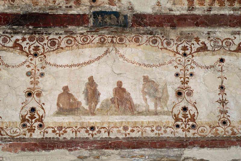 Decorazione pittorica dal ninfeo della Domus Transitoria. Particolare dalla volta. Roma, Museo Palatino. Credits: Parco archeologico del Colosseo